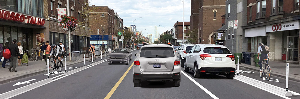 Artist rendering of the proposed Bloor West Bikeway Extension with cyclists in bike lanes, cars in travel lanes and parked cars