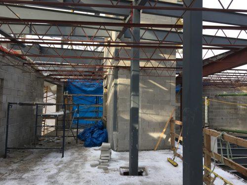 early construction of building with no exterior walls, steel beams, cinder-block walls