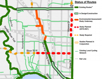 A map showing the cycling connections to the proposed Bloor West Bikeway Extension, which would connect the cycling network with Runnymede Road, High Park, the West Toronto Railpath and Shaw Street routes.