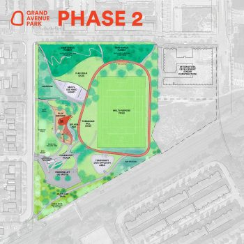 Diagram and information about phase 1 construction of Grand Avenue Park