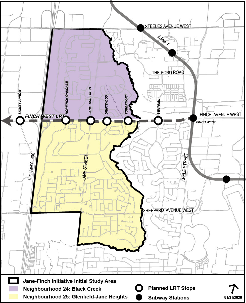 Map of the Jane and Finch study area with colour coded shading. Light purple area represents Neighbourhood 24: Black Creek and the yellow area represents Neighbourhood 25: Glenfield-Jane Heights