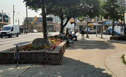 A photo of the public space at the northwest corner of Weston Road and Lawrence Avenue West, showing trees in planter boxes and people sitting on benches.