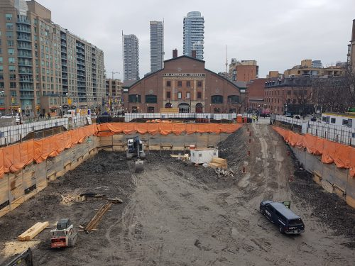 Shoring and excavation is complete to the base of parking level 2.