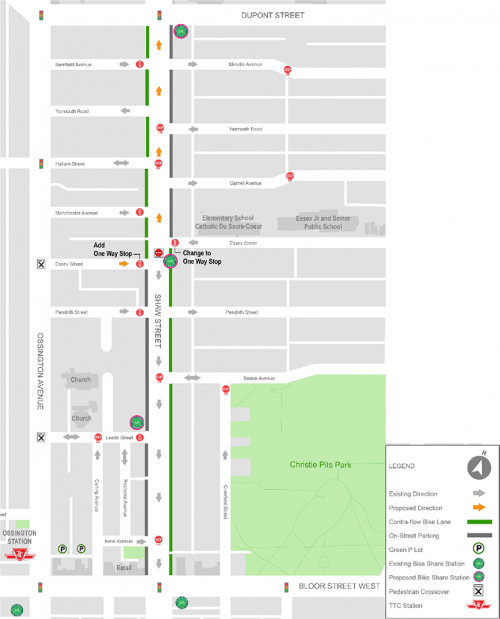 Map of Area 1 – Changes on Shaw Street (Dupont Street to Bloor Street West)