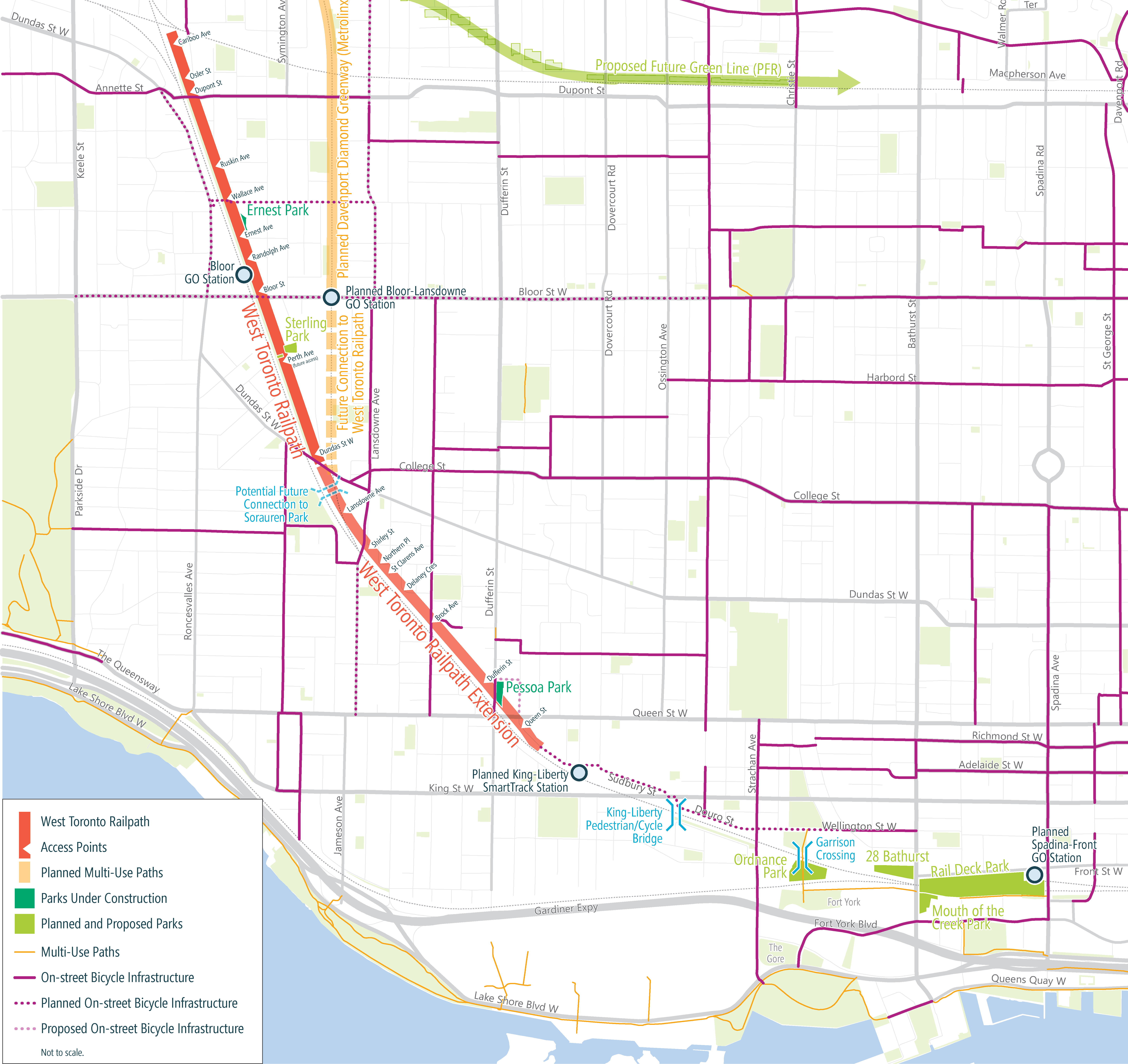 A map of the West Toronto Railpath Extension project area, along with adjacent proposed and planned bike facilities and green spaces