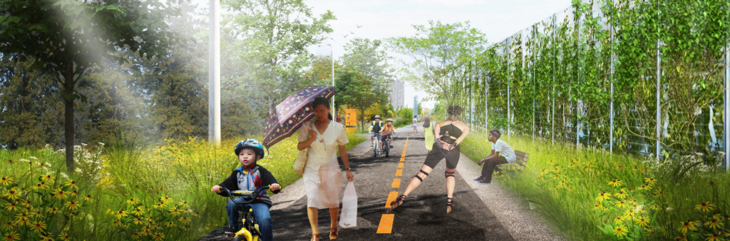A rendering of the future Railpath in use: child on a bike with training wheels cycling, a woman with an umbrella in one hand and bag in walking, a person rollerblading and someone sitting on a bench.