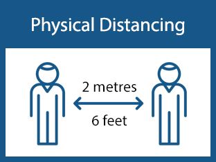 Physical Distancing - two figures standing 6 feet apart
