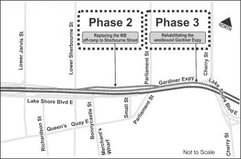 Map of Phase 2 and 3 Work – Extensive repairs to the westbound Lower Sherbourne / Lower Jarvis Streets off-ramp