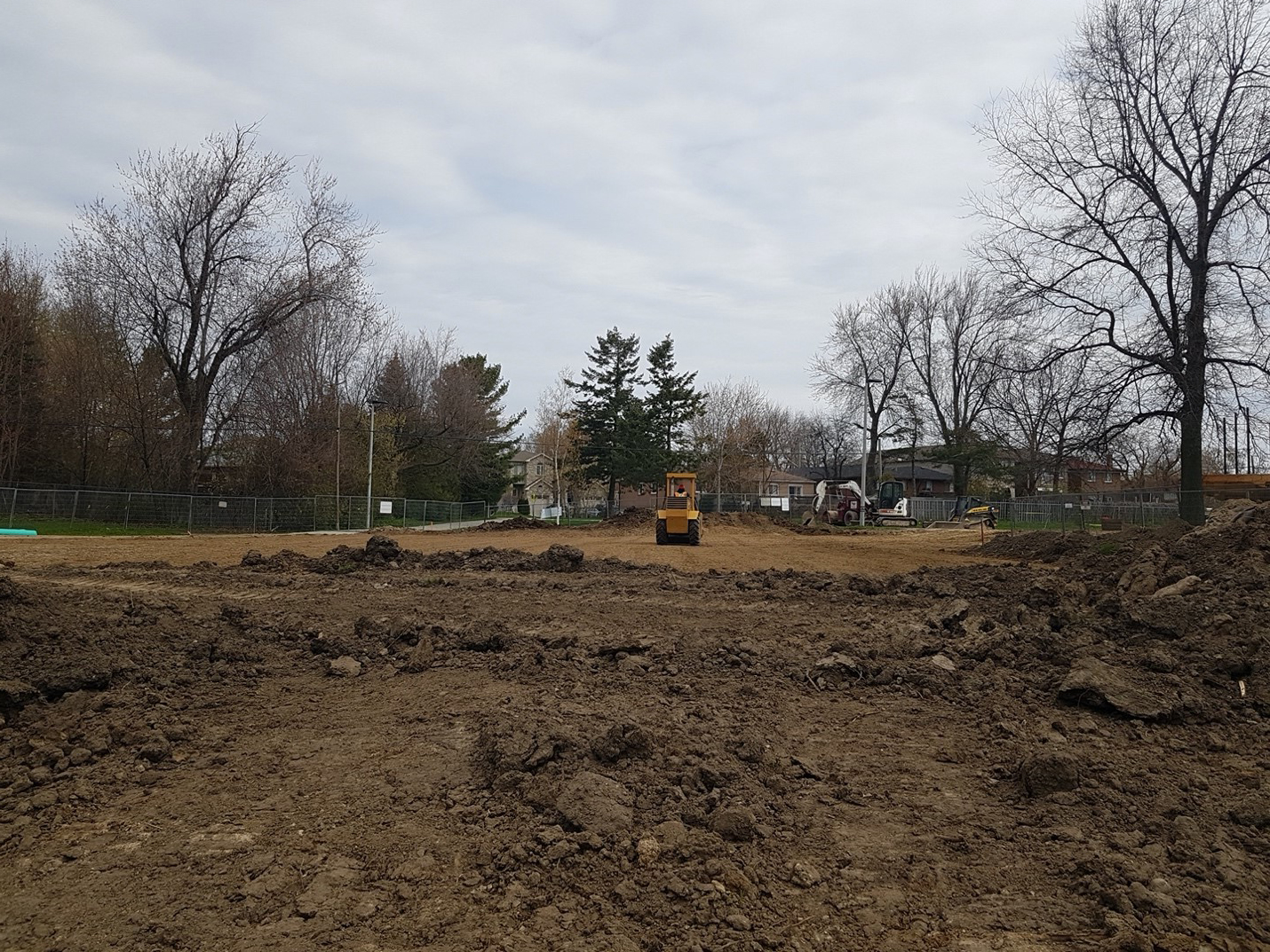 New playground area subgrade is being proofrolled.