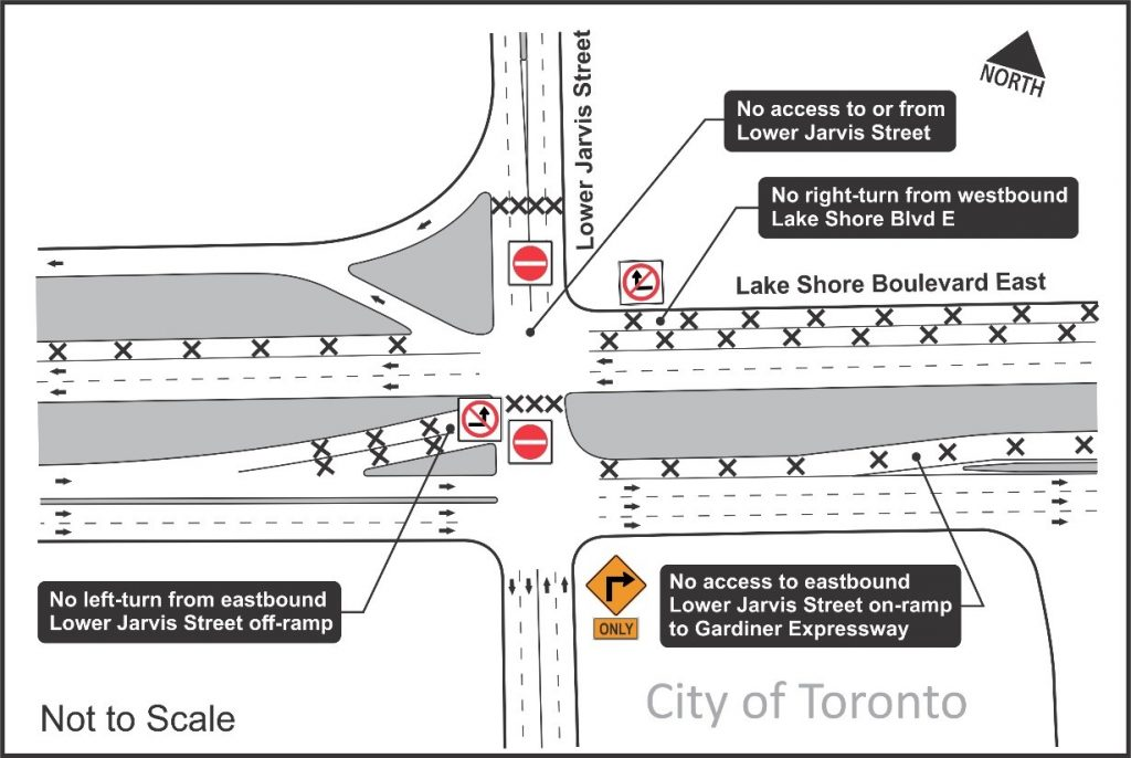 Map of intersection showing area effected by construction