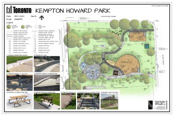 Final concept plan illustrating proposed improvements for the north area of the park. Image includes a legend and photos of proposed features.