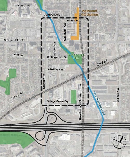Map showing the study focus area relative to Highway 401 and the Agincourt GO Station