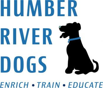 Blue logo for Humber River Dogs. Enrich. Train. Educate.