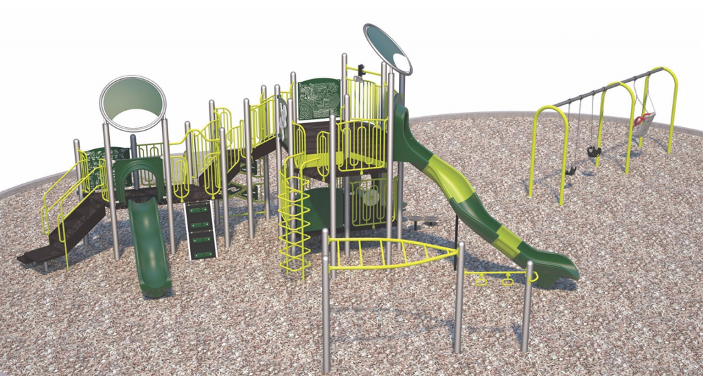 A computer rendering showing what the playground describe in Option 1 might look like.
