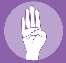 Intimate partner violence hand signal 1: palm to camera and tuck thumb