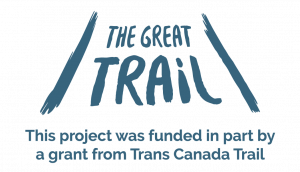 "The Great Trail logo with text that reads ""This project was funded in part by a grant from Trans Canada Trail"""