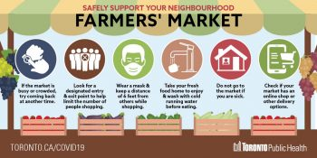 screenshot of safely support your farmers' market infographic