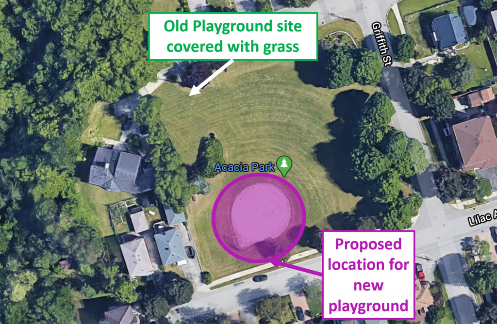 This image shows a new, proposed layout for Acacia park. The park is bordered by Griffith Street to the east and Lilac Avenue to the South. The proposed location for the new playground is shown on top of the current baseball diamond in the southwest quadrant of the park. There are few trees around this new location, and it is close to the park's southern sidewalk. The old playground site in the northwest quadrant is replaced with grass. Trees still border most of the park's perimeter and the central portion of the park is grass. The park is surrounded by residential streets of single family homes. There is a large wooded area nearby, to the west of the park.