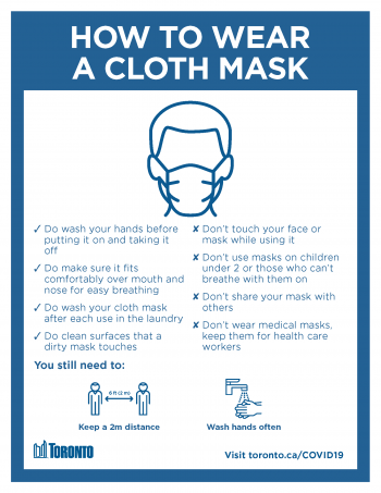 screenshot of how to wear a cloth mask poster