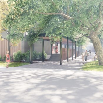 Preliminary artist's rendering, subject to final approval – View of the Macey Avenue entrance.