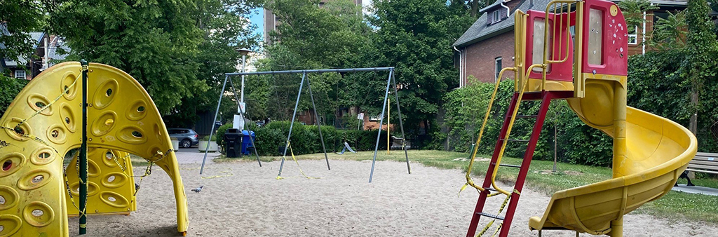 Joseph Burr Tyrrell Park, showing the playground equipment and swings