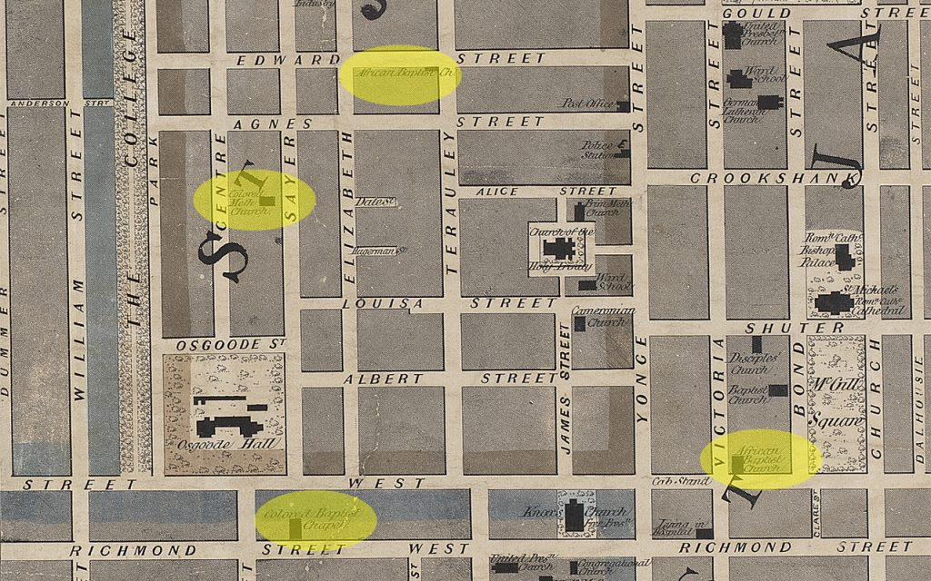 Detail of 1856 map of central Toronto, focused on Bay and Queen street intersection