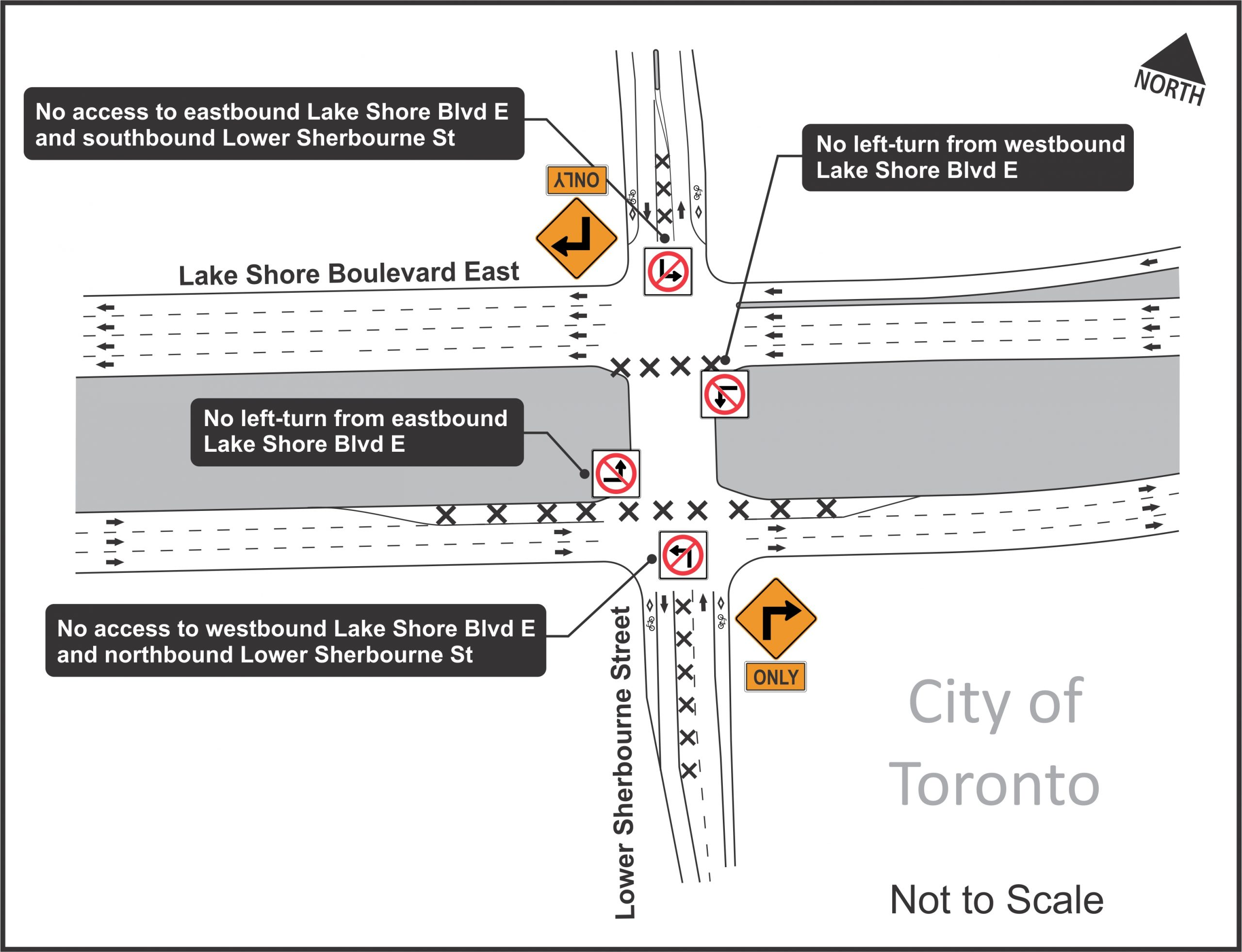 Image showing details of intersection closure at Lower Sherbourne Street and Lake Shore Boulevard East from June 20 to June 22, 2020
