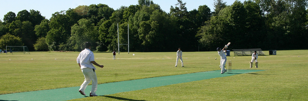 People playing cricket outside on a sunny day.