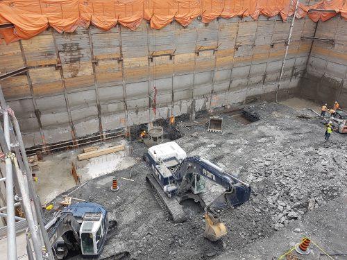 construction of building footings underway