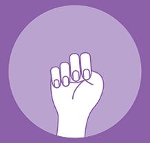 Intimate partner violence hand signal 2: trap thumb