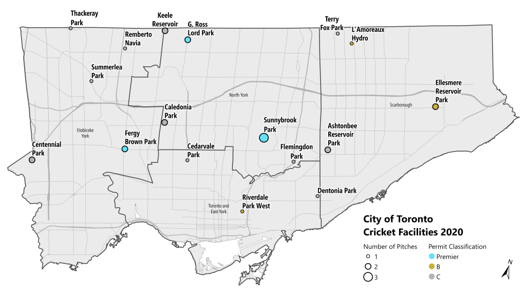 This is a map of Toronto that shows the number and types of cricket pitches that exist throughout the city. The City base-map is divided into the four boroughs of Scarborough, North York, Etobicoke, and East York/Downtown. There are three permit classifications of cricket pitch represented. Premier pitches are bright blue. B classification pitches are moss green, and C classification pitches are grey. The number of pitches in a park is represented by the size of the circle in that park. Smaller circles are one pitch, medium circles are two pitches, and large circles are three pitches. There are three parks with Premier pitches, three parks with B classification pitches, and eleven parks with C classification pitches. Below this map is a chart which contains the name and location of each park that contains cricket pitches, along with the number of pitches at that park.