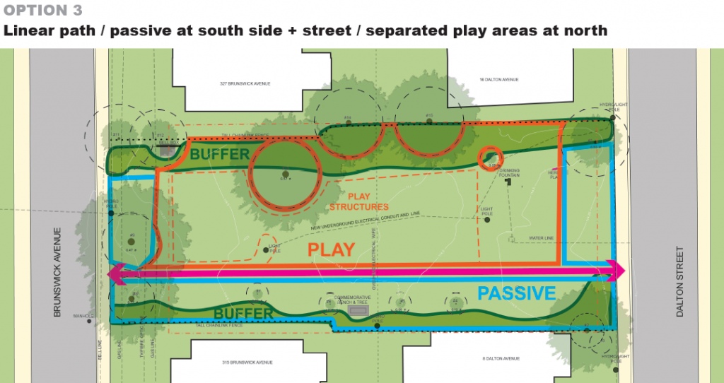 An aerial layout of a potential design for the park, option 3. A description follows in list format.