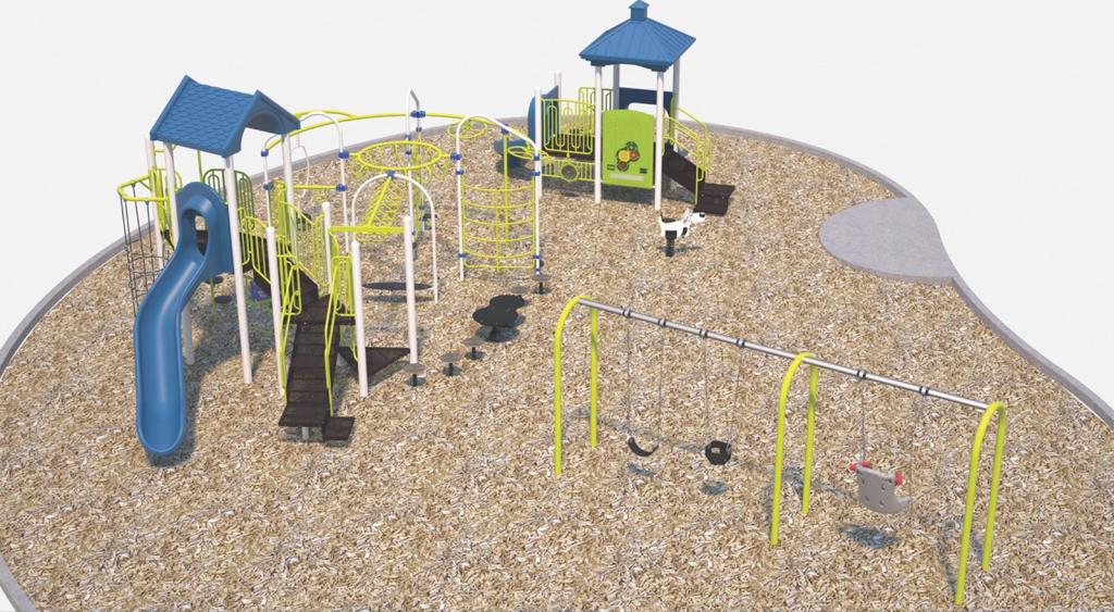 A computer rendering showing what the playground describe in Option 2 might look like.