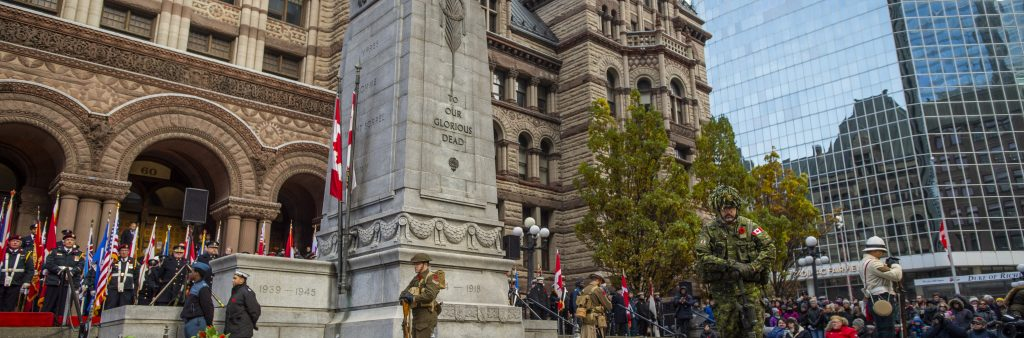 This is an image of the Annual Rememrbrance Day Ceremony at Old City Hall Cenotaph