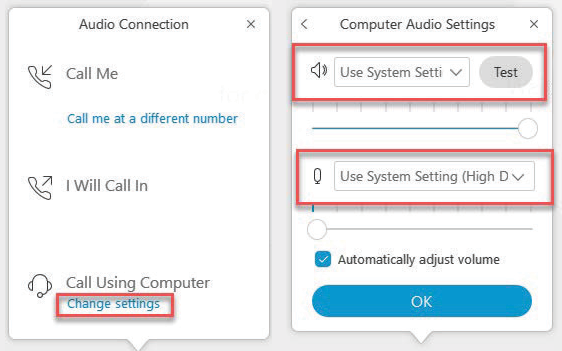 WebEx window which shows the various call options, along with the option to change settings for calling using computer