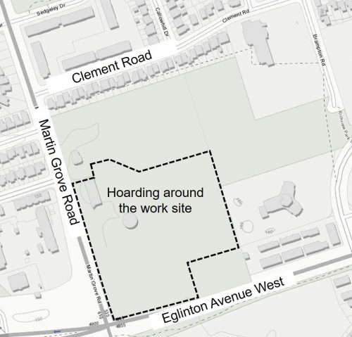Map of work site for the Richview Reservoir rehabilitation