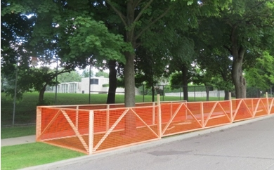 Tree Protection Zones. Fence surrounds trees.