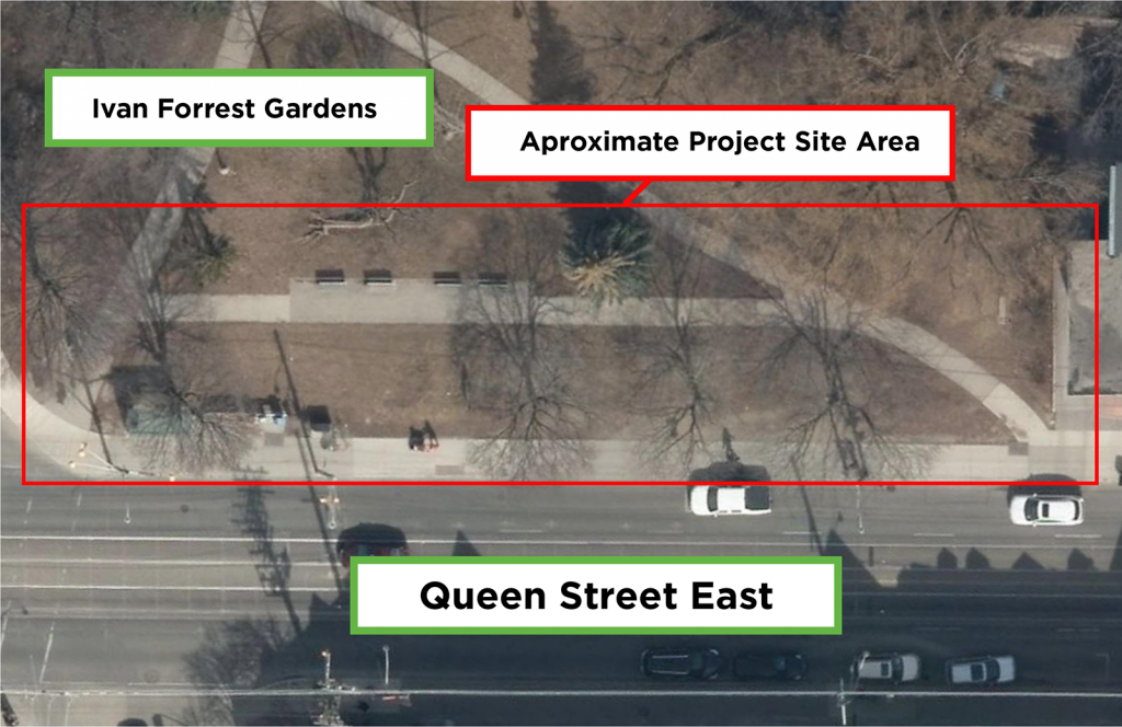 An aerial view of Ivan Forrest Gardens Park, showing the scope of the project. The project area is surrounded by a red square, label as Approximate Project Site Area. In a green box above the red box is the label Ivan Forrest Gardens. In a green box below the red box there is a label that says Queen Street East.