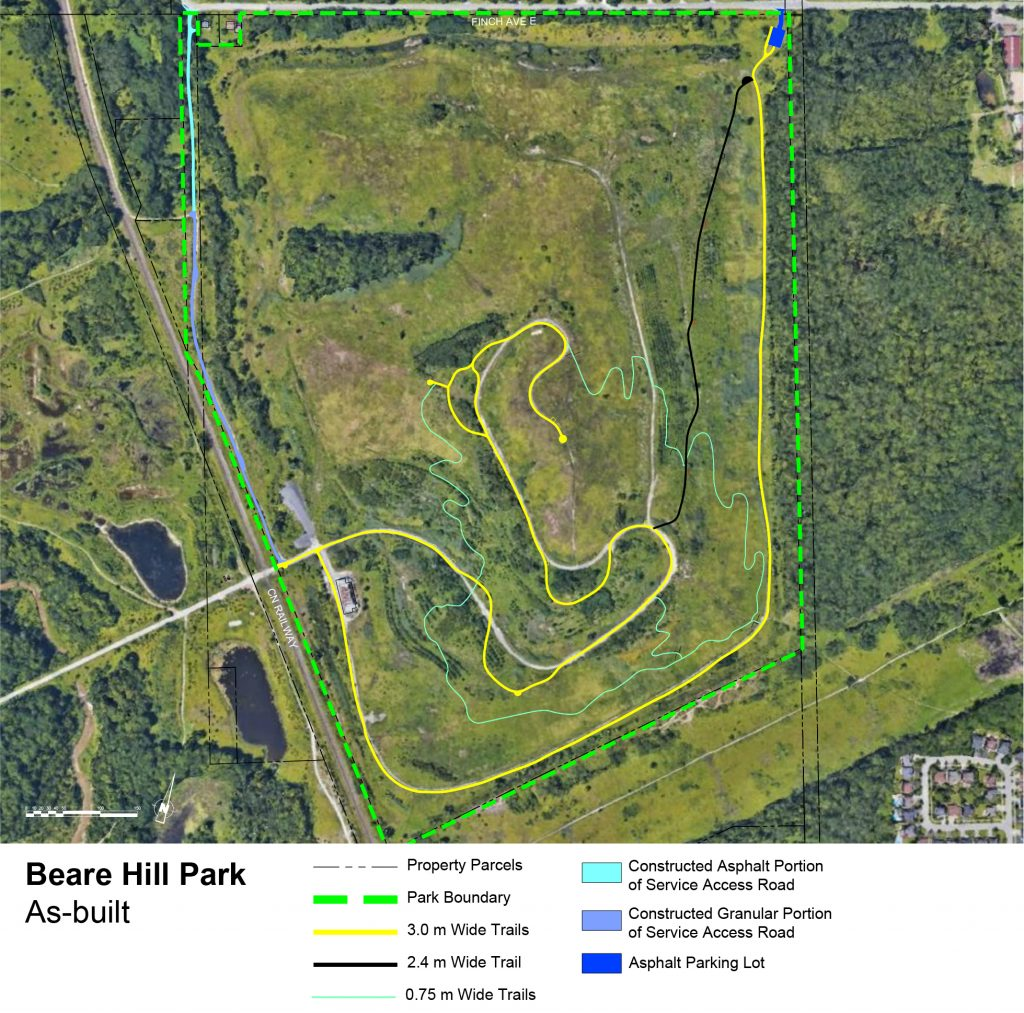 This is an aerial photo of the Beare Hill Park site under development. There are markings on the image that show the location of trails, parking lots and service roads, as well as boundaries and width of trails.