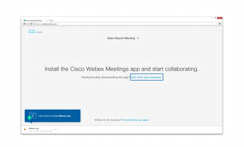 """WebEx - Join meeting via browser pop-up (Click the """"join from your browser"""" link)"""