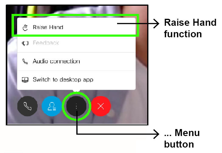 """WebEx window showing the button to click on to reveal with """"raise hand"""" option to ask a question"""