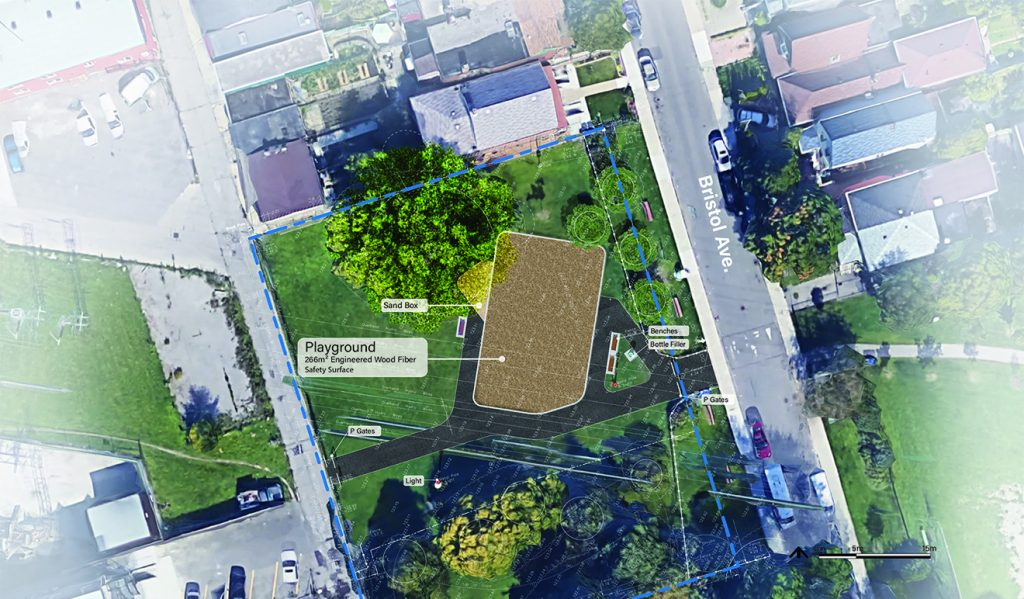 An aerial view of additional proposed improvements to Bristol Avenue Park, as described by the text following this image