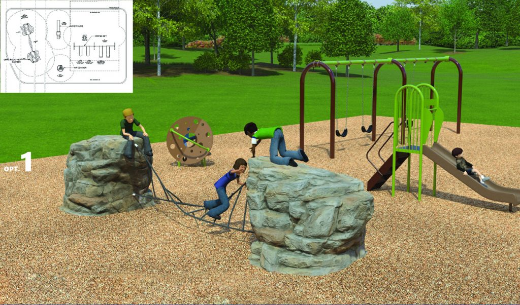 A rendering of Design Option 1 for Bristol Avenue Park Playground, as described by the text following this image