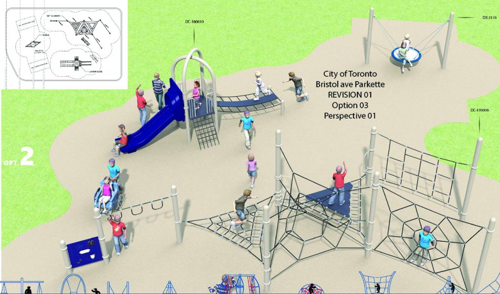 A rendering of Design Option 2 for Bristol Avenue Park Playground, as described by the text following this image