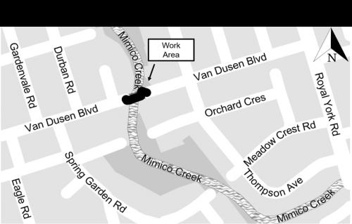 map image showing location of Van Dusen Boulevard Bridge contact mimicocreek@toronto.ca