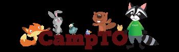 Cartoon animals surrounding the word CampTO, a larger raccoon wears a green staff shirt