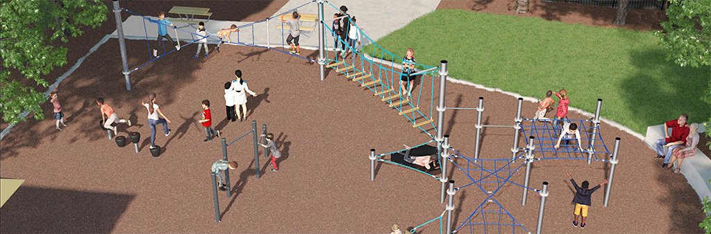 The digital rendering illustrates the layout and features of the play circuit structure. Elements include a continuous rope climbing structure with a low hammock, rope bridge and twisting rope climber. Standalone features include chin-up bars and stepping pods.
