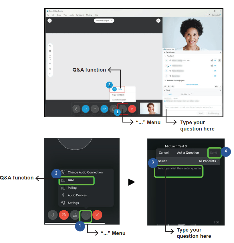 """WebEx functions window which demonstrates how to enable the Q&A options. First click on the """"more options"""" icon, and select Q&A. The window will switch allowing you to enter your question."""