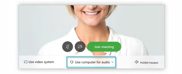 """Sample window of a WebEx call outlining the options for audio. In this example, """"use computer for audio"""" has been selected"""