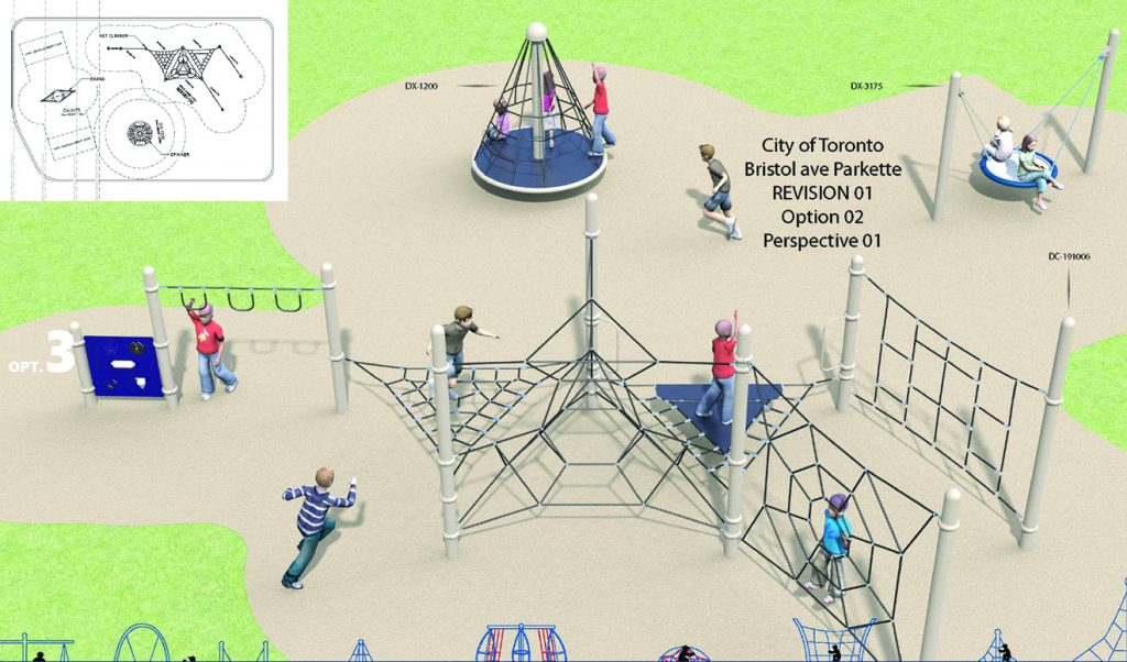 A rendering of Design Option 3 for Bristol Avenue Park Playground, as described by the text following this image